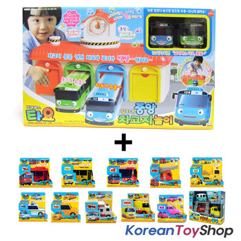 The Little Bus Tayo Main Garage w/ 14 Cars Full Set Toy Korean Animation