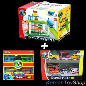 The Little Bus TAYO Parking Garage Service Center Play Set Toy w/ 10 pcs Cars