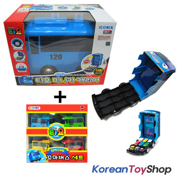 The Little Bus TAYO Car Carrier Storage Toy & Tayo Mini 4 pcs Buses Set