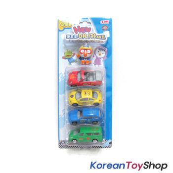 Pororo Cute Figure 1 pc & Metal Diecast Mini Car 4 pcs Toy Set, Korean Animation