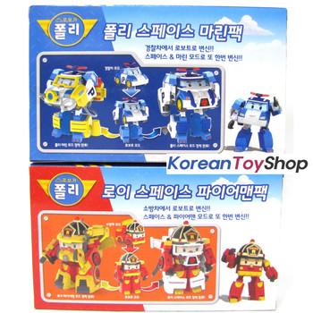 Robocar POLI & ROY Transformer Space Marine Fireman Pack Toy Car Robot Accessory
