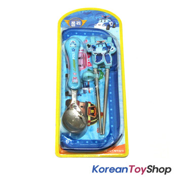Robocar Poli Stainless Steel Spoon & Training Chopsticks & Case Set BPA Free