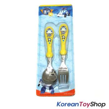 Robocar Poli Stainless Steel Spoon Fork Set Basic Yellow Color Kids BPA Free