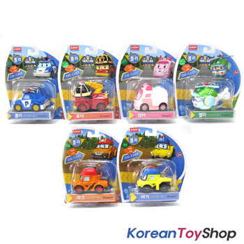 Robocar Poli Diecast Metal 6 pcs Figure Toy Set Poli Roy Amber Helly Mark Bucky