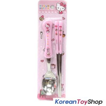 Hello Kitty Stainless Steel Spoon & Chopsticks Set Pink BPA Free / Made in Korea