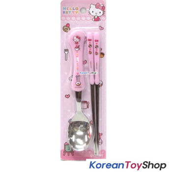 Hello Kitty Stainless Steel Spoon & Chopsticks Set Pink BPA Free / Made in Korea