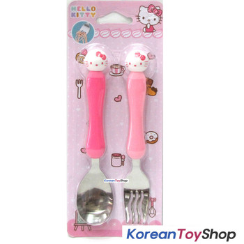 Hello Kitty Stainless Steel Mascot Spoon Fork Set / BPA Free / Made in Korea