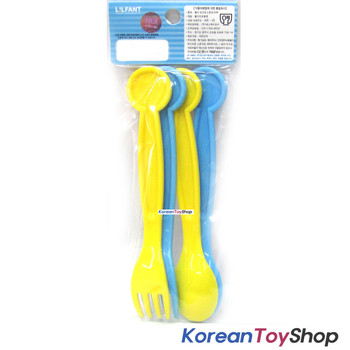 Robocar Poli Plastic Spoon Fork 4 pcs Set Kids Point Version Made in Korea