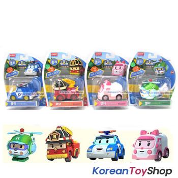 "Robocar Poli Diecast Metal Toy 4pcs Set 2.8"" Poli Roy Amber Helly Model Academy"