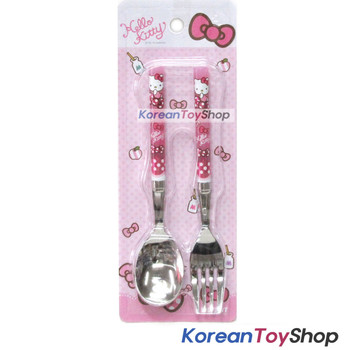 Hello Kitty Stainless Steel Simple Spoon Fork Set Pink BPA Free / Made in Korea
