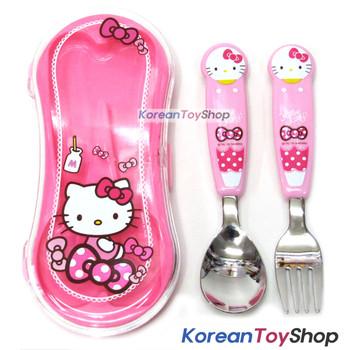 Hello Kitty Stainless Steel Easy Spoon Fork Hard Case Set Pink BPA Free Korea