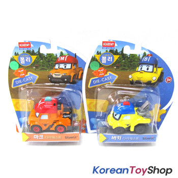 Robocar Poli Diecast Metal MARK & BUCKY 2 pcs Set Figure Toy Academy Genuine