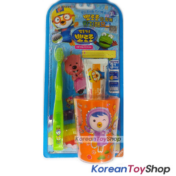 Pororo Toothbrush Toothpaste Cup Set Kids Children Over 3 years+ Made in Korea