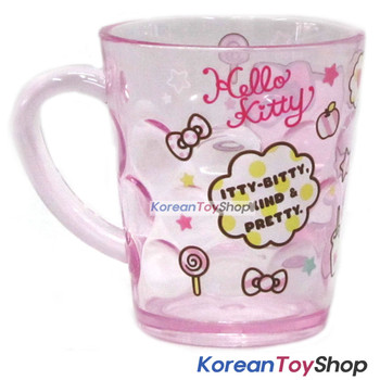Hello Kitty Character Clear Plastic Cup with Handle 7.8oz Made in Korea