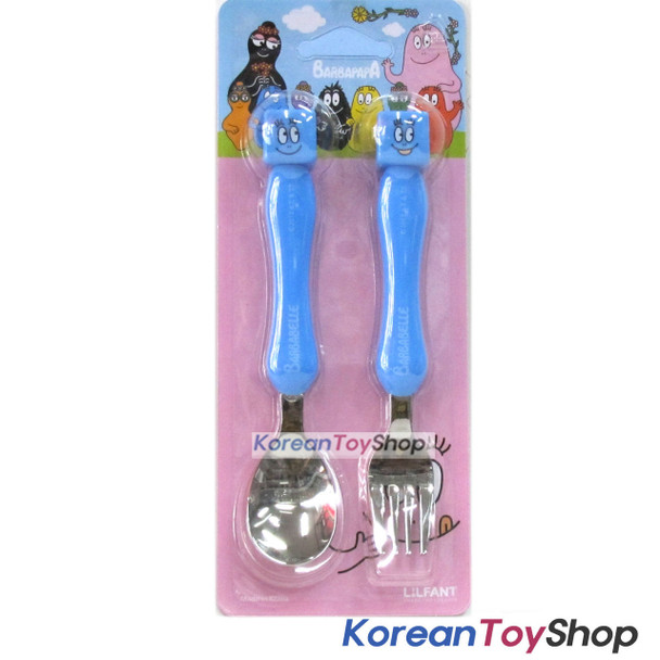 Barbapapa Mascot Stainless Steel Spoon Fork Set BPA Free BLUE
