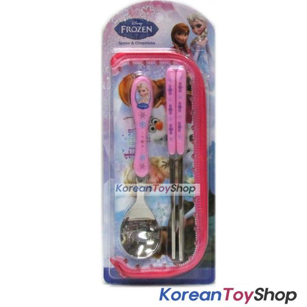 Disney Frozen Stainless Steel Spoon Chopsticks Case Set Pink BPA Free M. Korea