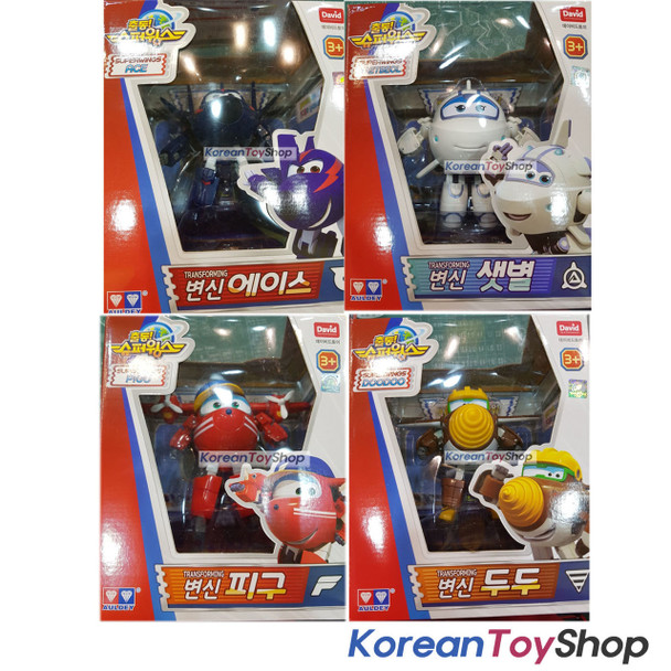 Super Wings Chase Astra Flip Todd Ace Saebeol Pigu Doodoo 4 pcs Transformer Robot Set Toy Season 2 New