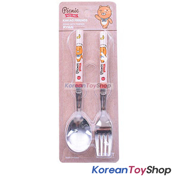 KAKAO Friends RYAN Stainless Steel Spoon & Fork Set Kids BPA Free Made in Korea