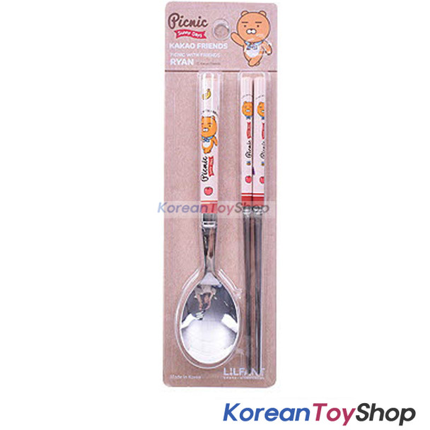 KAKAO Friends RYAN Stainless Steel Spoon & Chopsticks Set Kids BPA Free Korea