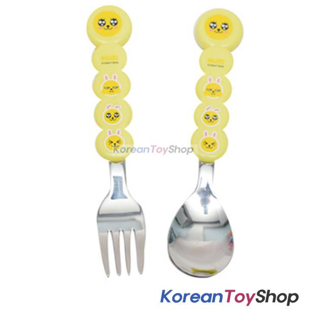 KAKAO Friends MUZI Stainless Steel Spoon & Fork Set Kids BPA Free Circle Type