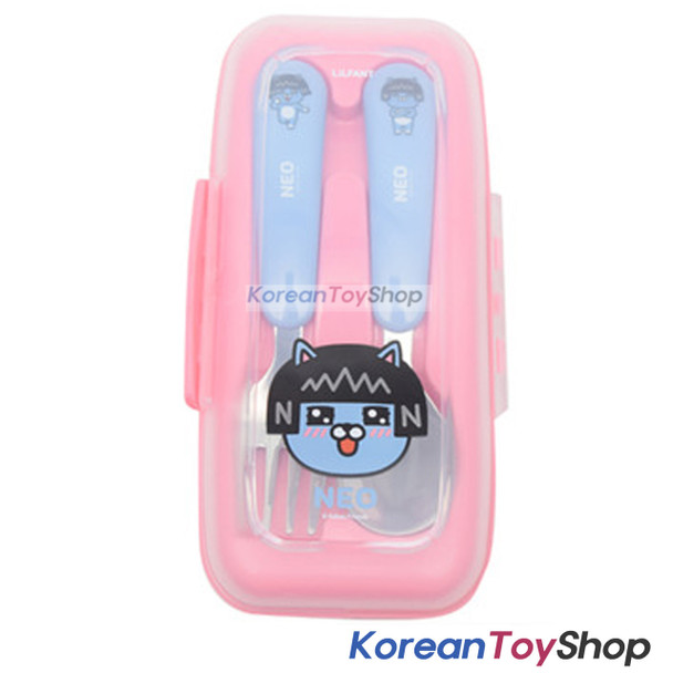 KAKAO Friends NEO Stainless Steel Spoon & Fork Case Set BPA Free Made in Korea