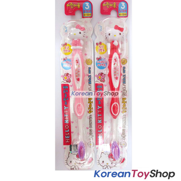 Hello Kitty cute Toothbrush Figure 2 pcs Set Children DU PONT Brush M/ in Korea