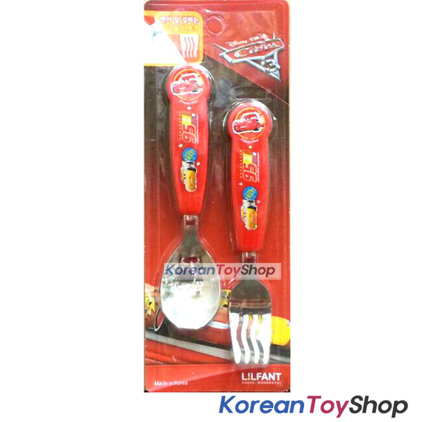 Disney Pixar Cars 3 Stainless Steel Spoon Fork Set Kids Children McQueen Korea
