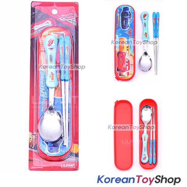Disney Pixar Cars 3 Stainless Steel Spoon Chopsticks Case Set BPA FREE Original