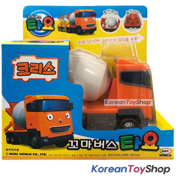 Little Bus TAYO Diecast Plastic Car CHRIS Model Concrete Mixer Truck Pull Back