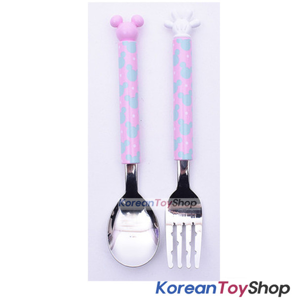 Disney Minnie Mouse Icon EASY Grip Figure Stainless Steel Spoon & Fork Set Kids