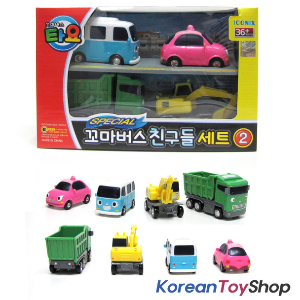 00130 - The Little Bus TAYO & Friends 4 pcs Set V.2 Toy Cars Bongbong Heart Max Poco