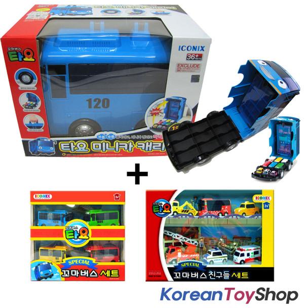 The Little Bus TAYO Car Carrier Storage Toy & Tayo 10 pcs Mini Cars Set