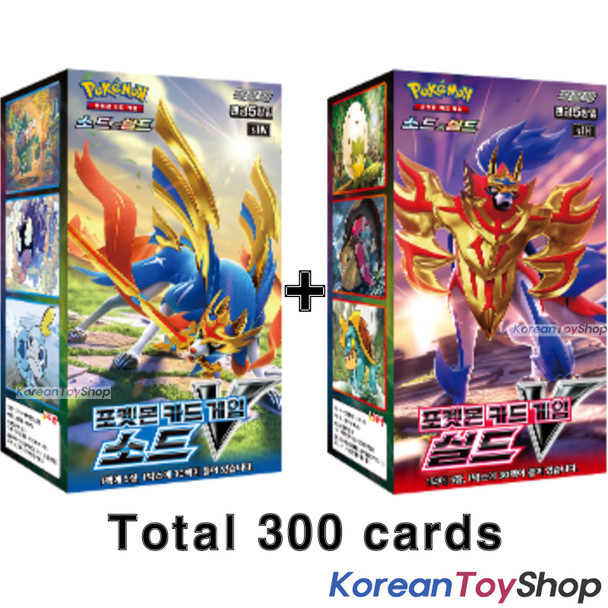Pokemon Cards SWORD V & SHIELD V Total 2 Boxes / 300 Cards / s1W & S1H Korean