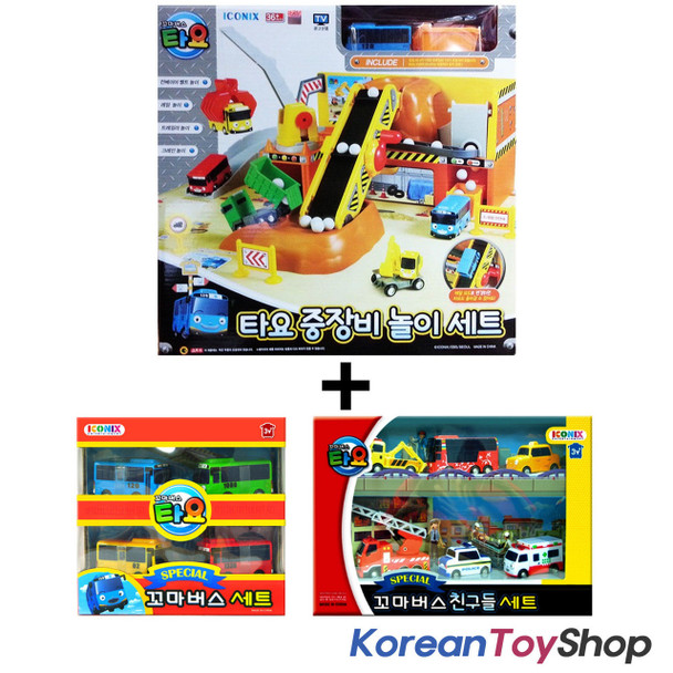The Little Bus Tayo Heavy Equipment Play Set Toy w/ 10 pcs Tayo Friends Mini Car