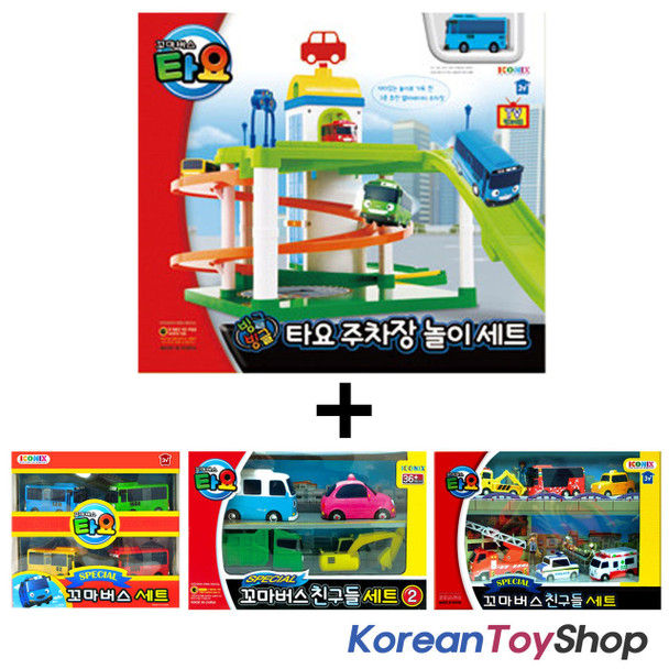 The Little Bus TAYO Parking Garage Service Center Play Set Toy w/ 14 pcs Cars
