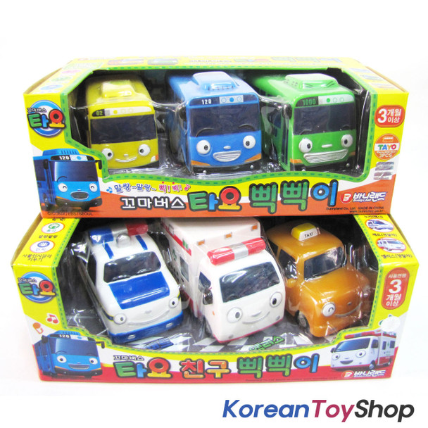 The Little Bus TAYO Soft Toy Car 6 pcs Set Whistle Beep Beep Tayo Rogi Rani...
