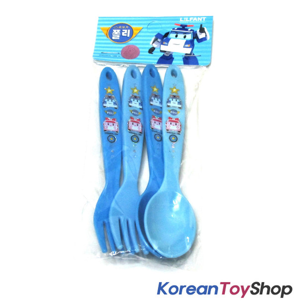 Robocar Poli Spoon Fork 4 pcs Set Kids Plastic Cute Made in Korea