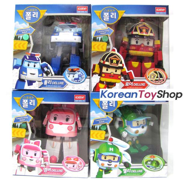 Robocar Poli Transformer Deluxe 4pcs Set POLI ROY AMBER HELLY Robot Toy Academy