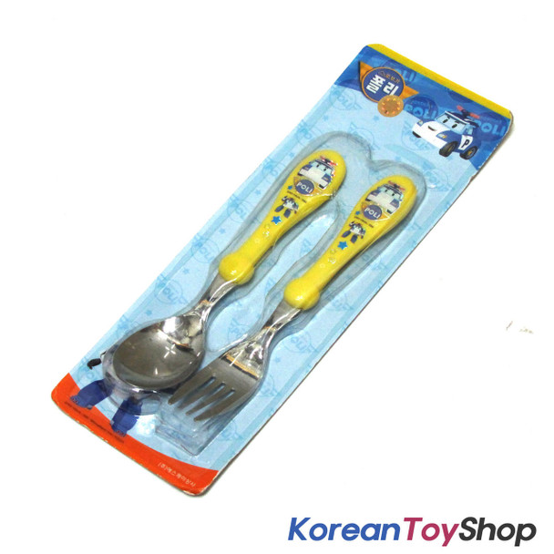 Robocar Poli Stainless Steel Spoon Fork Set Basic Yellow Color Kids BPA Free