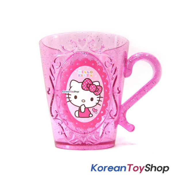 Hello Kitty Plastic Handle Cup Tiara Style 290ml / Made in Korea