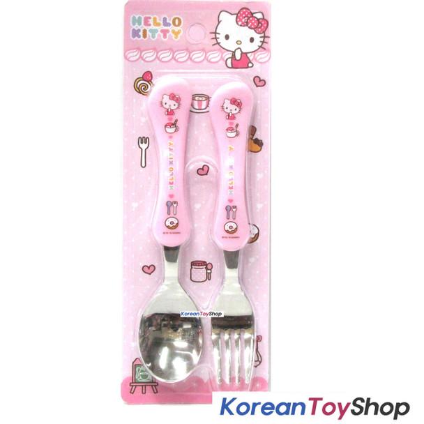 Hello Kitty Stainless Steel Basic Spoon Fork Set / BPA Free / Made in Korea