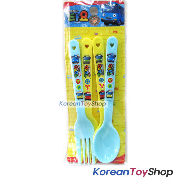 Little Bus TAYO Plastic Simple Spoon Fork 4 pcs Set for Kids Children Made Korea