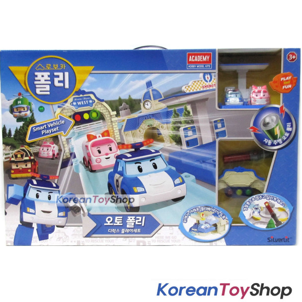 Robocar Poli Auto Poli Deluxe Smart Vehicle Play Set w/ Poli, Amber, Tracks