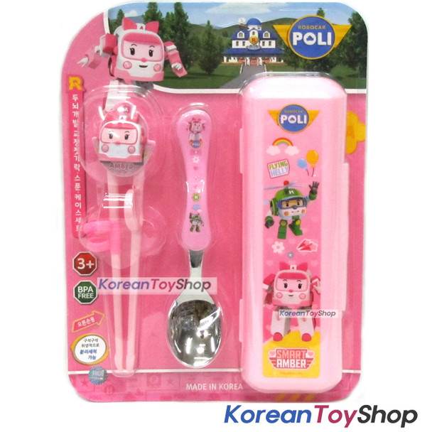 Robocar Poli Stainless Steel Spoon Training Chopsticks Case Set Amber Model Pink