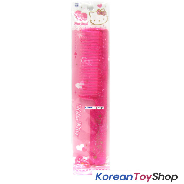 Hello Kitty Hair Comb Pink Color w/ Glitter Decoration / Made in Korea