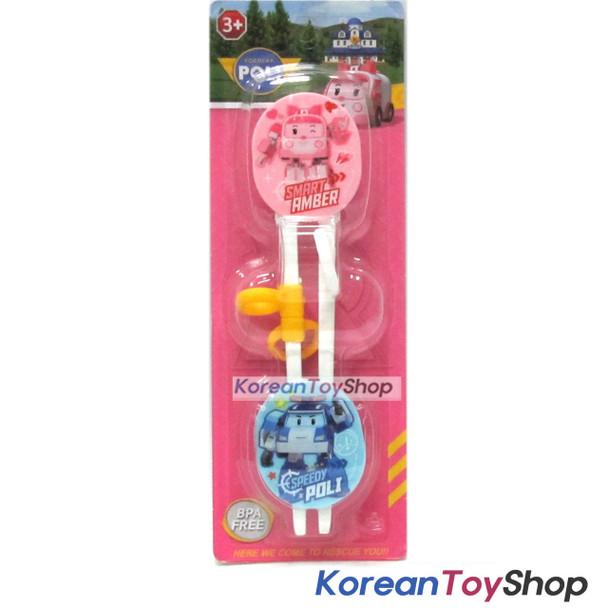 Robocar Poli Training Chopsticks w/ Buttons Right Handed Amber Model Pink