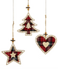 GiftCraft Wooden Plaid Ornaments