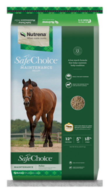 Nutrena SafeChoice Maintenance Pelleted Horse Feed, 50 Lbs.