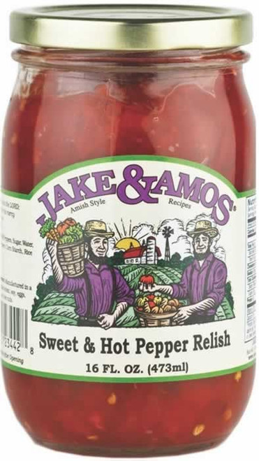 Jake and Amos Sweet and Hot Pepper Relish 16 Ounces