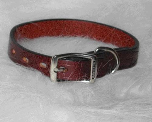 "Hamilton Burgundy Creased Leather Collar, 3/4"" x 20"
